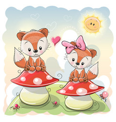 two cute cartoon foxes vector image