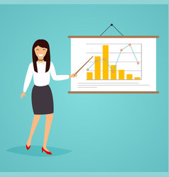 Businesswoman giving a presentation with diagram vector