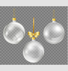 Glass transparent christmas ball with gold ribbon vector