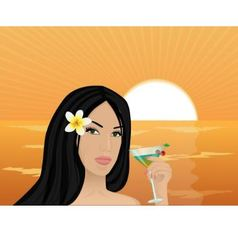 Girl with a cocktail at sunset vector