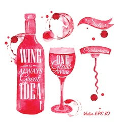 Watercolor wine vector