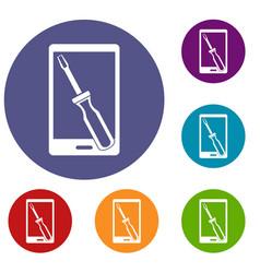 Renovation phone icons set vector