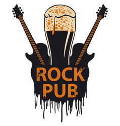 Banner for rock pub with glass of beer and guitars vector