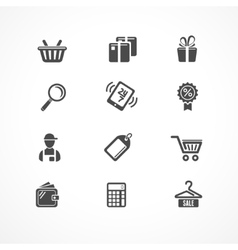 Shopping icons black vector image