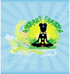 Yoga lotus pose padmasana with colored chakra vector