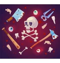 Happy halloween horror set vector