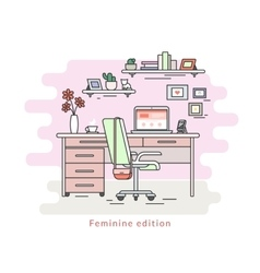 Feminine workplace room interior vector