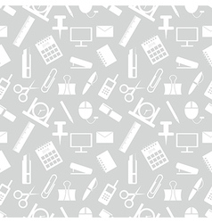 Pattern office supplies on the grey backdrop vector