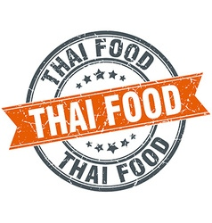 Thai food round orange grungy vintage isolated vector