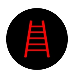 Ladder sign red icon vector
