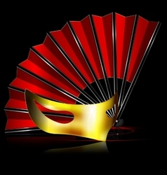 Red fan and golden mask vector