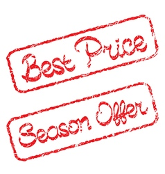 Rubber stamps with text best price and season vector