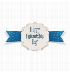 Friendship day paper banner with text and ribbon vector