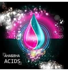 AHA BHA Acid Oil Serum Essence 3D Droplet vector image vector image