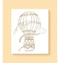 Air balloon and doodle heart zentangle inspired vector