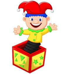 Amusing toy jumping out from a box vector