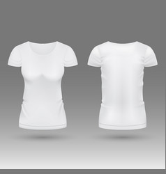 Blank realistic 3d white woman t shirt vector