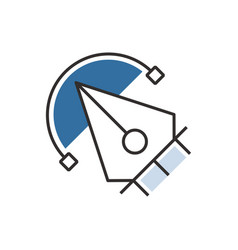 Blue pen tool icon design vector
