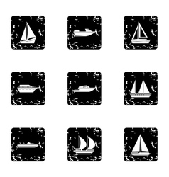 Boat icons set grunge style vector