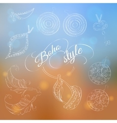 Boho jewelery set on abstract background vector image