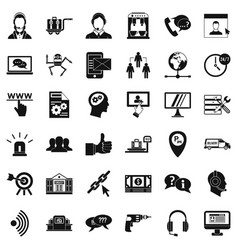 Call center icons set simple style vector