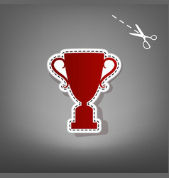 Champions cup sign red icon with for vector