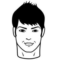Closeup front portrait of a young man smiling vector image
