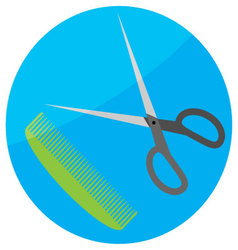 Comb and scissor icon flat vector image