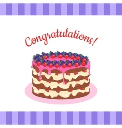 Congratulations cake banner postcard greeting card vector