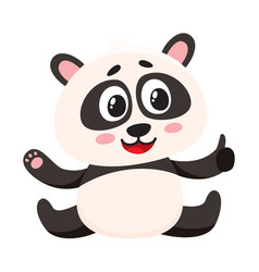 cute smiling baby panda character sitting showing vector image