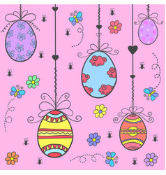 Doodle of easter egg colorful style vector