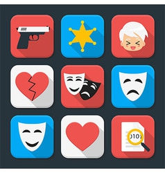 Film genre squared app icon set vector