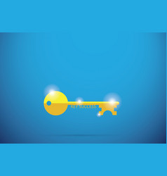 Gold key with key success word success concept vector