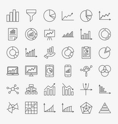 Graph chart line icons vector