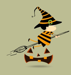 halloween kids witch girl character vector image vector image