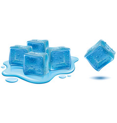 Ice cubes with water drops vector