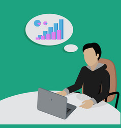 Man sitting and thinking about financial charts vector