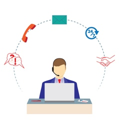 Man working in a call center support service vector
