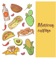 mexican food hand drawn doodle vector image vector image