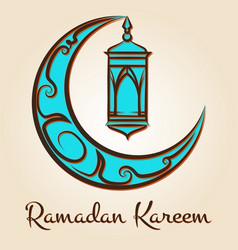 Moon and lamp ramadan kareem emblem vector