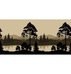 Seamless Landscape Trees River and Mountains vector image vector image