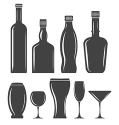 Set of glasswear icons Black logo elements flat vector image