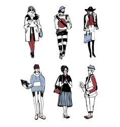 Set of stylish people with gadgets at street vector