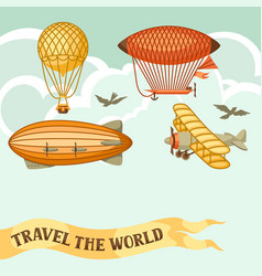 travel background with retro air transport vector image