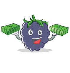 With money blackberry character cartoon style vector