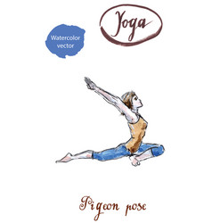Woman practicing yoga entering in king pigeon pose vector