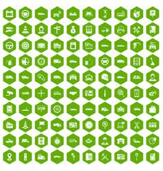 100 auto icons hexagon green vector