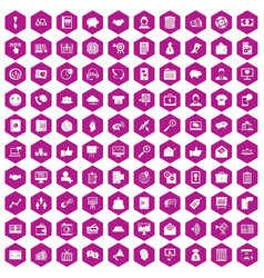 100 viral marketing icons hexagon violet vector image
