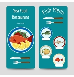 Fish menu flyers template vector image