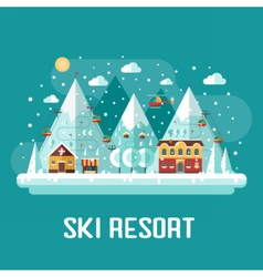 Mountains ski resort landscape vector